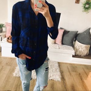 Blue & Black Plaid L/S Button Up Top